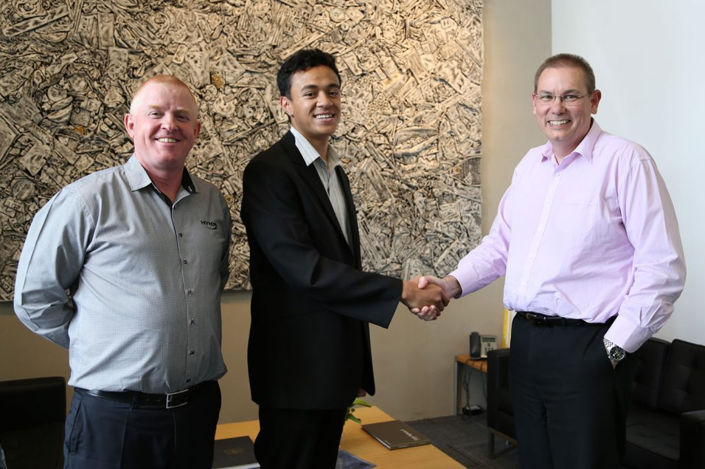 Hynds Foundation Scholarship Recipient with David Wheeley (CEO) and Patrick Crofskey (People and Culture)